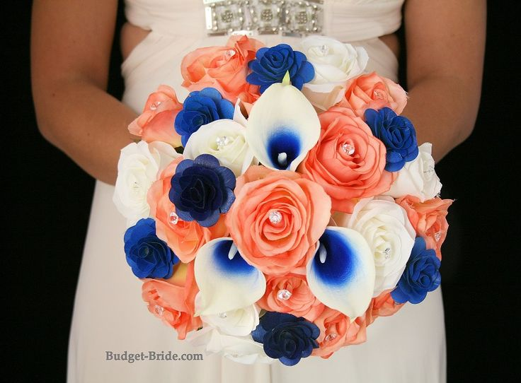 Coral and Royal Blue Rose Bouquet