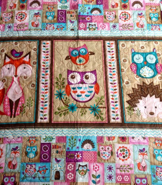 Baby or Toddler Quilt Girl Woodland Critters Fox Owl by CoolSpool