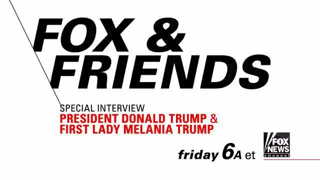 https://twitter.com/i/videos/tweet/878004996406624257?embed_source=clientlib Fox News‏Verified account @FoxNews 7h7 hours ago  TOMORROW on @foxandfriends, @ainsleyearhardt interviews @POTUS and @FLOTUS - Tune in at 6a ET on Fox News!