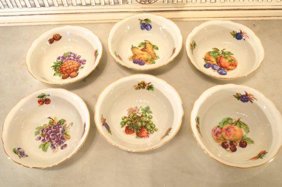 set of 6 china fruit bowls with fruit images by tillyandarthur