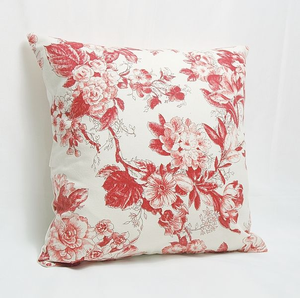 Red Burgundy Floral Print Decorative Pillow Case Home, Red burgundy and Canvases