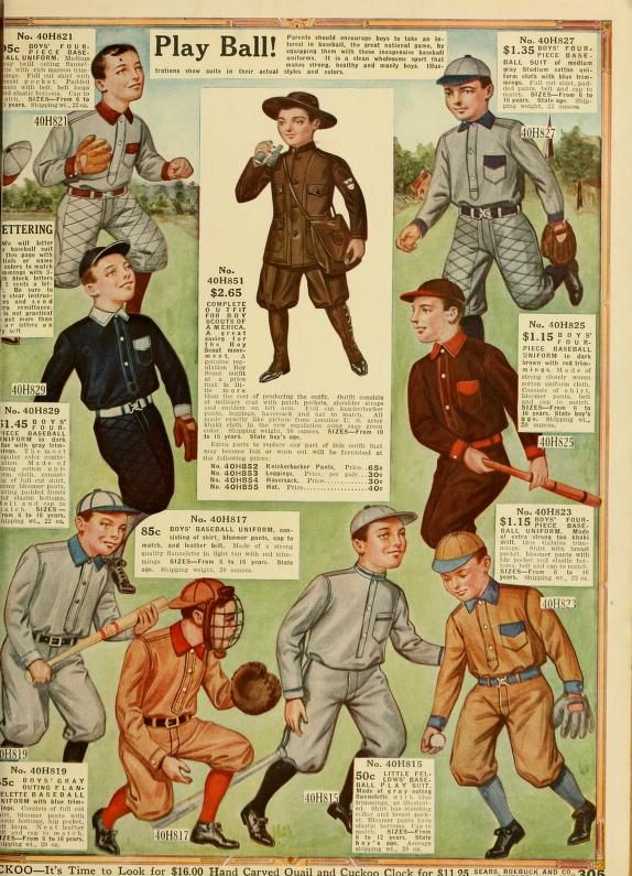 Baseball suits and Boy Scout outfit (coat, knickerbockers, leggings, hat and haversack)