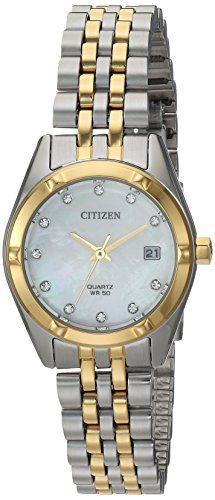 Citizen Women's Quartz Stainless Steel Casual Watch, Color:Two Tone (Model: EU6054-58D) Check https://www.carrywatches.com