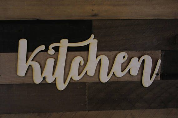 Kitchen Script Word Wood Sign Wood Sign Art Kitchen Wood