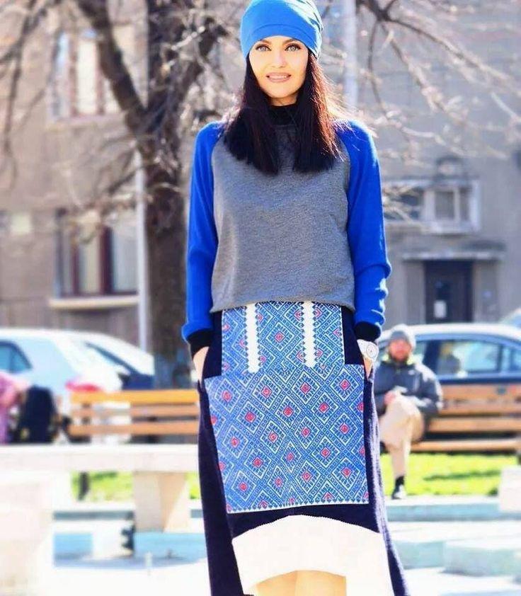 "Blue Streetsyle, Contemporary Design, Tradition, Handmade Embroidery, ""A"" line Skirt"