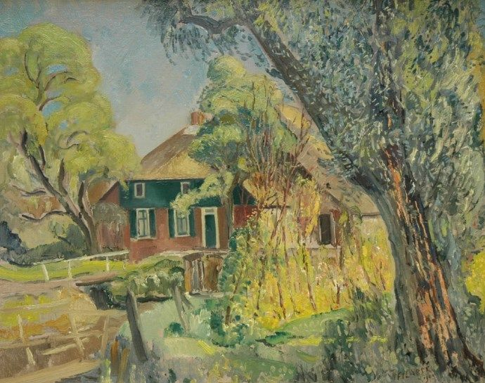 'Dirk' Herman Willem Filarski Amsterdam 1885-1964 Zeist Boerderij Giethoorn, olie op doek 65,3 x 81,5 cm., gesigneerd r.o. en gedateerd 1943