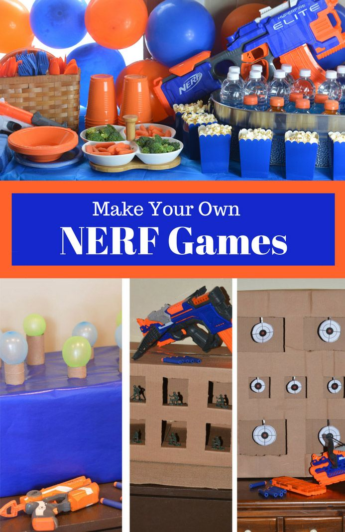 You'll be on target for hosting the ultimate Nerf birthday party with these fun ideas for making your own Nerf games. #nerf #nerfgames #birthdayparty #birthday #party #games #cardboard #birthdayideas