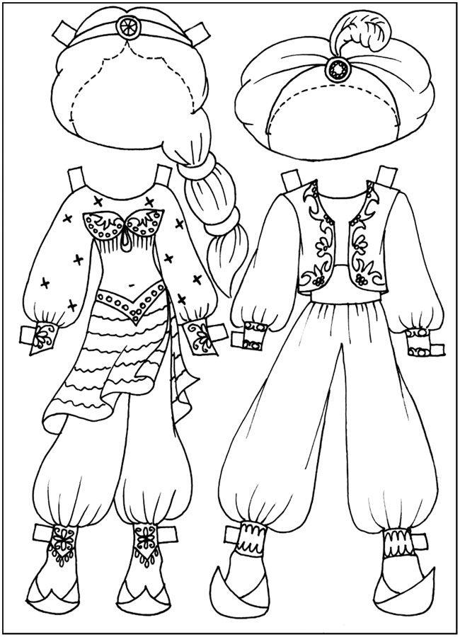 разукраски Куклы-вырезалки, арабский наряд, бесплатно ...