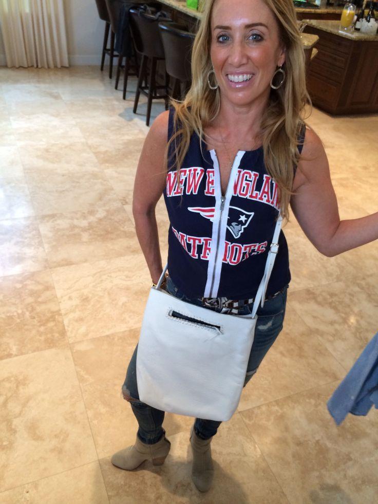 Debbie sporting her white Jennifer Haley cross body with