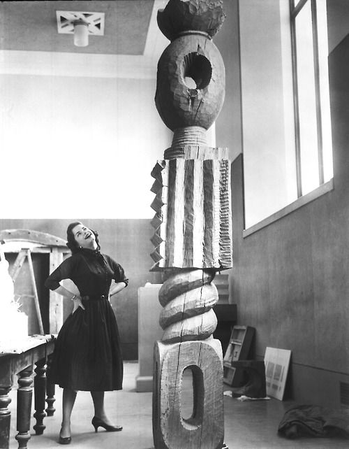 """Brancusi's """"King of Kings"""" sculpture in 1956. """"Things are not difficult to make; what is difficult is putting ourselves in the state of mind to make them.""""— Constantin Brancusi"""