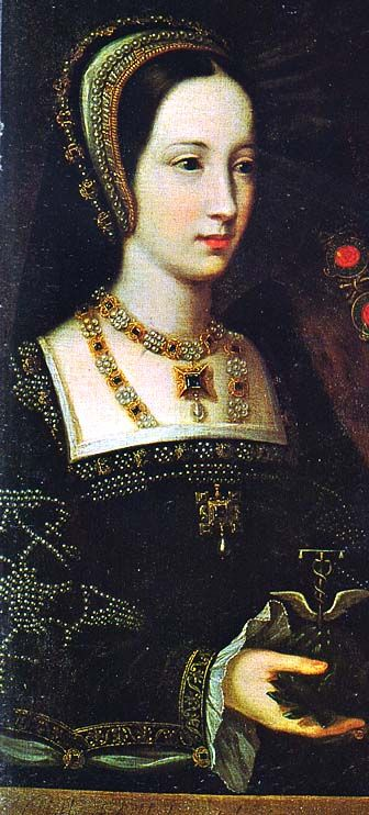 Mary Tudor, Henry VIII's favourite sister - detail from her marriage portrait to Charles Brandon in1515, after she was the dowager Queen of France. She married Charles Brandon, one of Henry's dearest friends, and became the Duchess of Suffolk. She also became the grandmother of Lady Jane Grey, whose claim to the English throne came from Mary.