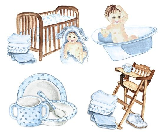 Shower Baby Clip Art Watercolor Baby Boy Clipart Blue Baby Boy
