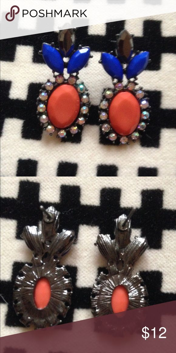 TOPSHOP Art Deco post earrings Coral, smoky quartz, cobalt, and AB. Lightweight. From the Soho location in Manhattan. Topshop Accessories