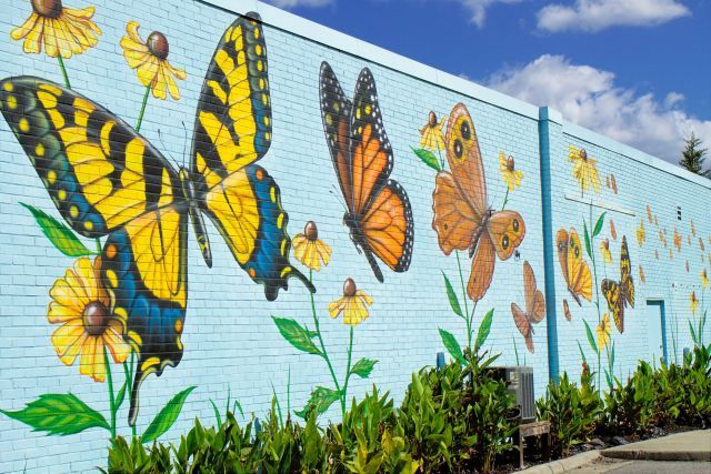 Lovely butterfly mural, by artist Chip Wilkinson, in South Norfolk on the outside wall of the Portlock Galleries