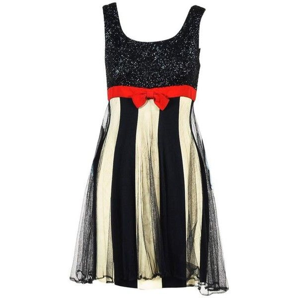 Preowned Vintage Moschino Couture Black Cream Red Metallic Stripe Sl... (£405) ❤ liked on Polyvore featuring dresses, white, stripe dresses, white cocktail dresses, white mesh dress, white sleeveless dress and sleeveless dress