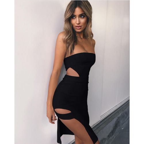 Black Strapless Side Cut-Out Dress