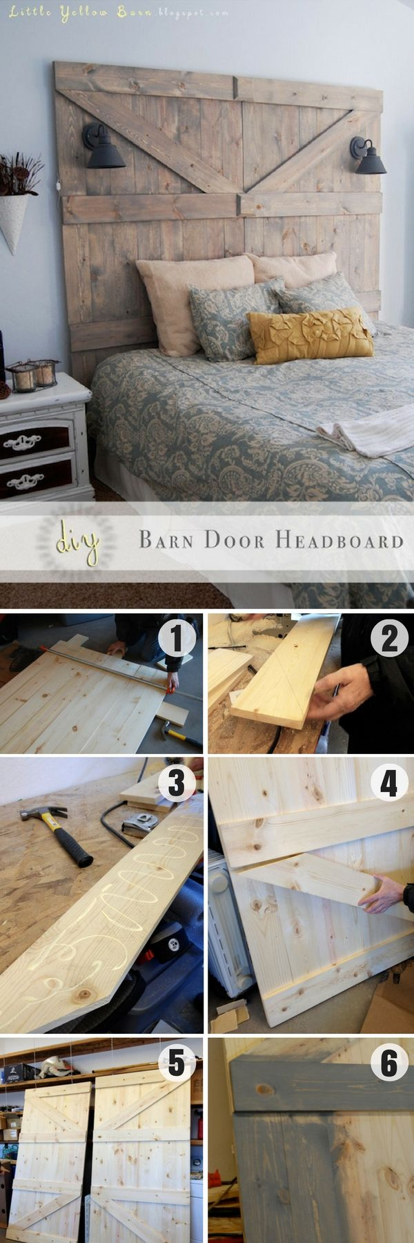 Check out this easy idea on how to build a #DIY barn door headboard for bedroom #homedecor #budget #project #wood @istandarddesign