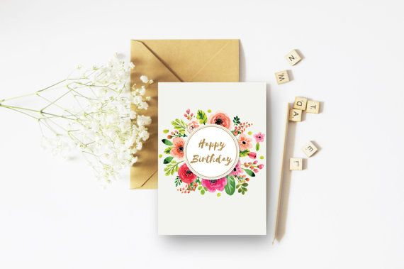 Happy Birthday Gold Card - A6 Card - Floral Congratulations Card - Floral Cards - Gold Cards