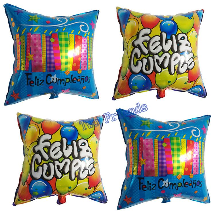 20inch Feliz <font><b>Cumple</b></font> square foil balloons 30pcs spanish happy birthday party decorations kids helium globos child toys gift