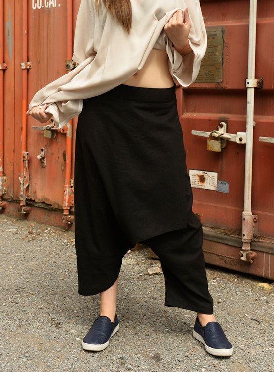 Black Linen Pants / Extravagant Drop Crotch Pants by Metamorphoza