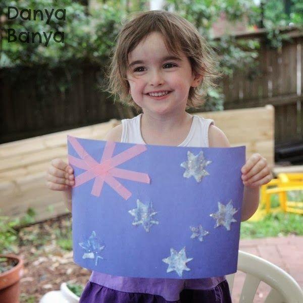 Australian flag craft for preschoolers (from Danya Banya).