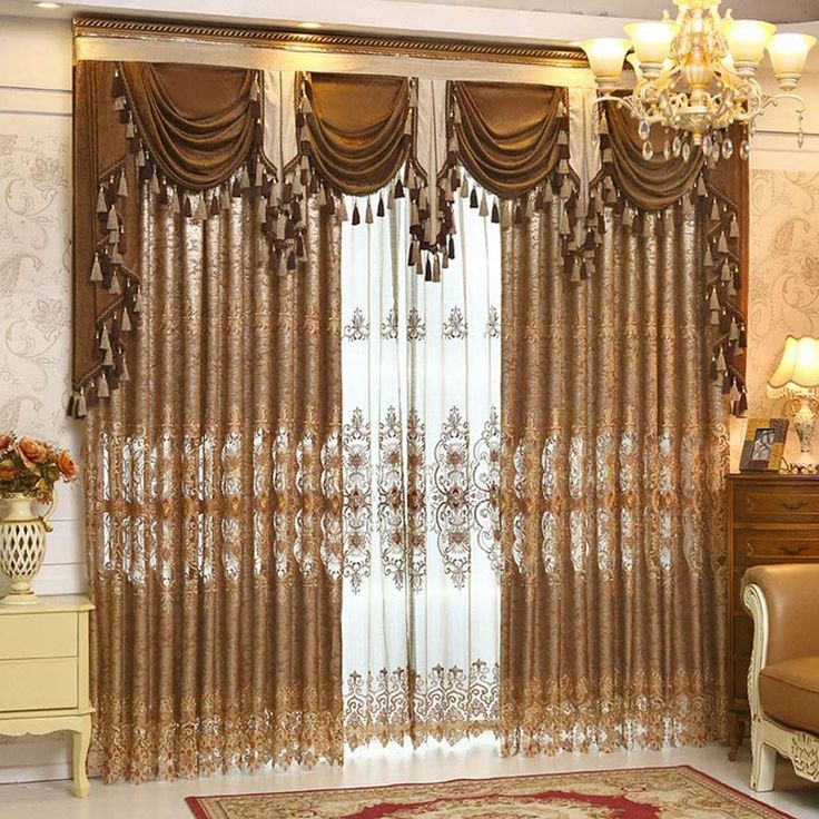 ... Curtain Styles Suppliers: Luxury Gold Embroidered Curtains For Living  Room European Style Valance Curtains Set Window Treatment Decorative  Curtains