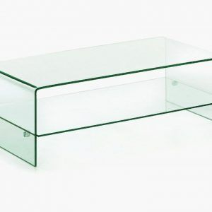 Curved Glass Coffee Table With Shelf