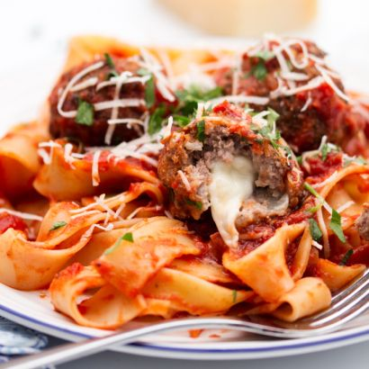 Mozzarella Stuffed Meatballs with Pappardelle - Nicky's Kitchen Sanctuary