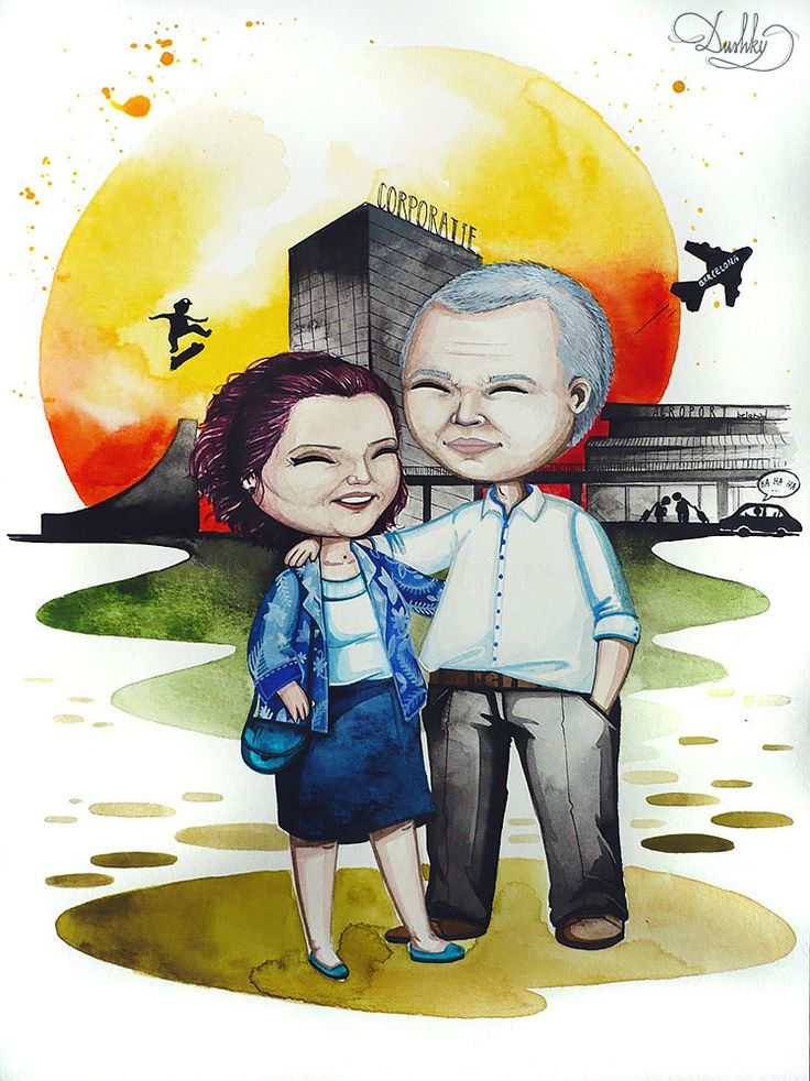 portrait by #dusky | #art #illustration #painting #watercolor #portrait #family #parents