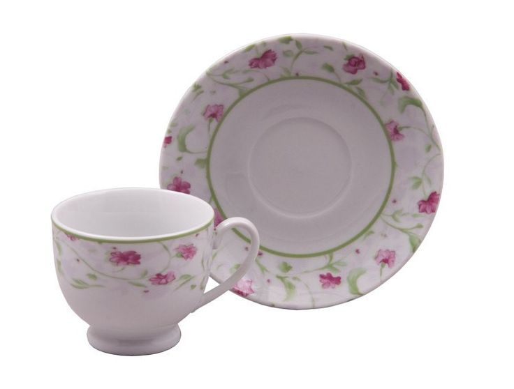 Pink Floral Case of 24 Wholesale Priced Tea Cups (Teacups) And Saucers -NEW!
