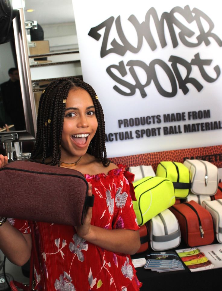 Asia Monet Ray with our football toiletry