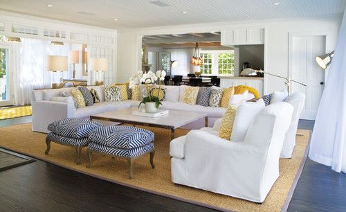 White living room with color yellow and navy