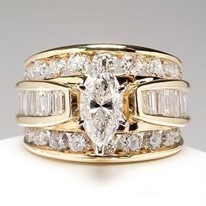 Idée et inspiration Bague Diamant :   Image   Description   Wide Band Diamond Engagement Rings   Marquise Diamond Engagement Ring Wide Band 14K Gold – EraGem
