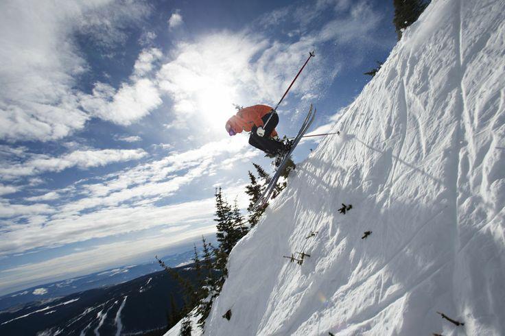 Taking a ski in Big Mt. category down Sun Peaks steeps.