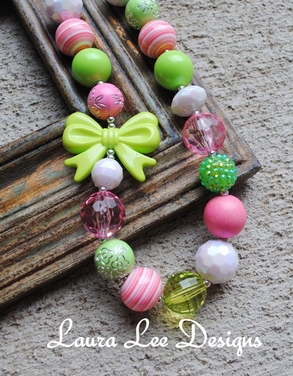 Pink and Lime Bow Bubblegum Necklace Chunky by LauraLeeDesigns108, $19.99