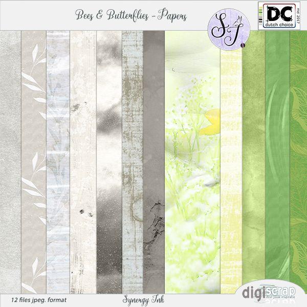 Synergy Ink | Bees & Butterflies Papers 12 achtergronden/papers met en zonder patroon in groene en grijze tinten, onderdeel van de kit;Bees & Butterflies. Past perfect bij de Dutch Choice mei 2017