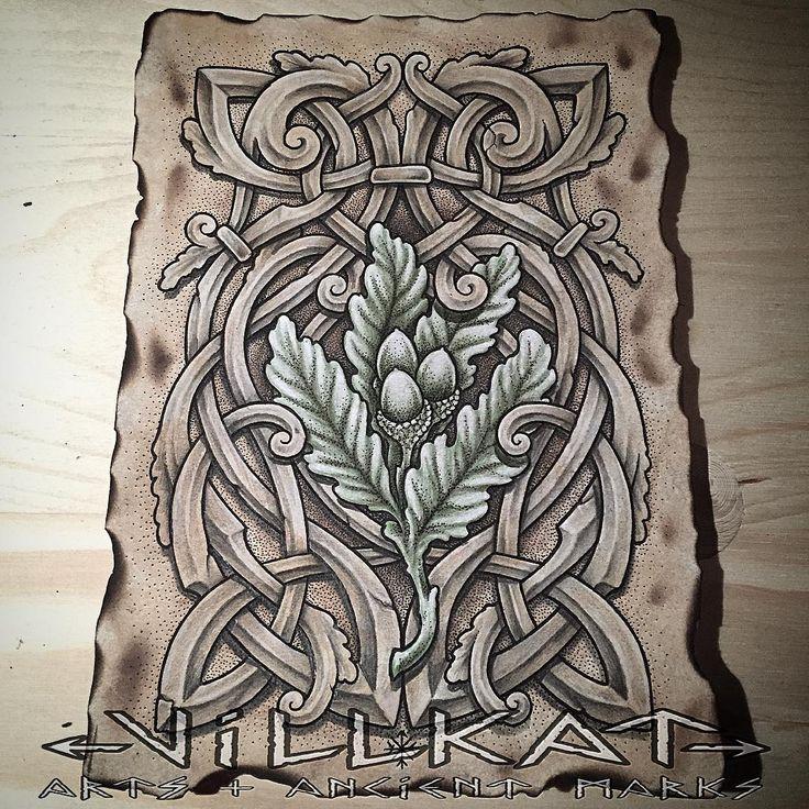 A little oaky knotwork piece of art for fun  #dotwork #dotworkers #knotwork #pagan #pagansofinstagram #paganart #viking #celt #celticknots #celticknotwork #norse #oaktree #oakleaves #nature #theoldways #villkat #villkatarts #villkattattoo