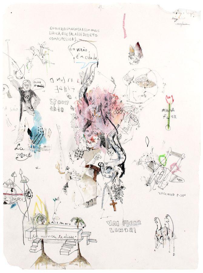 Virgílio Neto - ArtMaZone  Sans titre | Crayon, aquarelle, gouache, pastel et crayon de couleur sur papier | 23 x 30 cm | 2010 - 2012