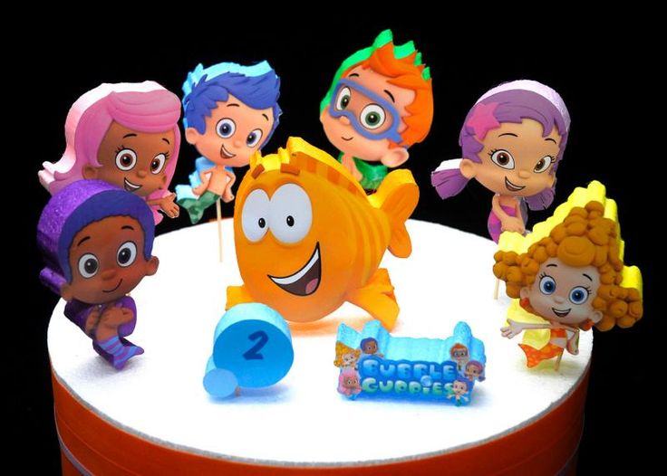 By popular demand! Here are individual foam pieces ideal to make any cake a dream come true. Place them on top of the cake (toothpicks included) however you like. You can even get the special birthday boy/girl to participate by decorating there special cake.   This is a listing for a set of (9) Bubble Guppies Individual pieces to decorate cakes or can be used just about anywhere or anything you like. You can put double sided foam tape and use as room decoration as well!    Set includes 9...
