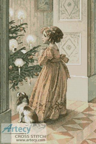 Artecy Cross Stitch. Victorian Christmas 3 Cross Stitch Pattern to print online.