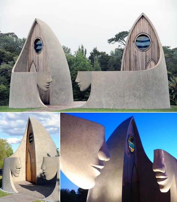 The sculptured Matakana toilet blocks took seven years to complete and opened to the public in 2009.