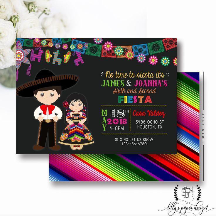 Excited to share the latest addition to my #etsy shop: Fiesta Birthday Invitation, Sibling Fiesta Party Invite, Fiesta Twin Birthday Invitations, Mexican Fiesta Invite, Muchachito Senorita