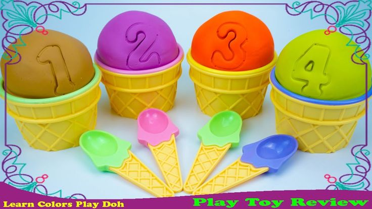 Play Toy Review 🎥 Learn Colors And Number With Play Doh Ice Cream Eggs S...