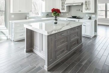 Lakewood Kitchen. Stone Masters Inc. Holiday Kitchen Cabinetry. Calcutta Marble Island.
