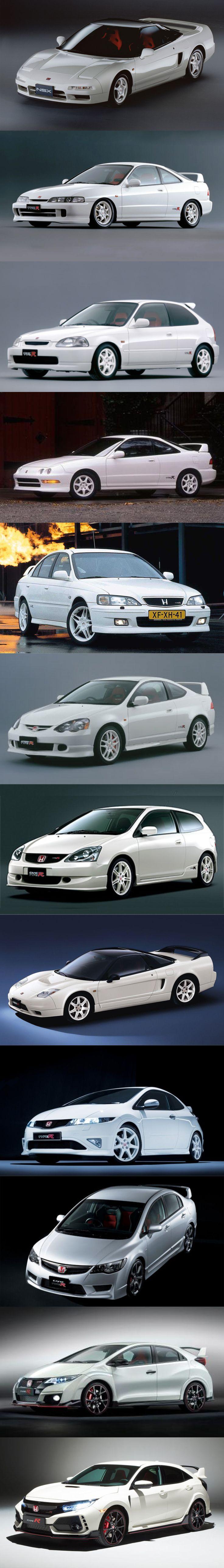 Honda Type R evolution / 1992 NSX / 1995 Integra / 1997 EK9 Civic / 1998 Integra / 1999 Accord / 2001 Integra - RSX / 2001 EP3 Civic / 2002 NSX facelift / 2007 FN2 - FD2 Civic / 2015 FK2 Civic / 2017 FK8 Civic / Japan / white