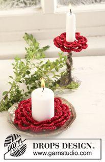 """Base para velas de Navidad DROPS en ganchillo / crochet, en """"Cotton Viscose"""" y """"Glitter"""". Diseño DROPS: Patrón No. N-068-jul ~ DROPS Design"""