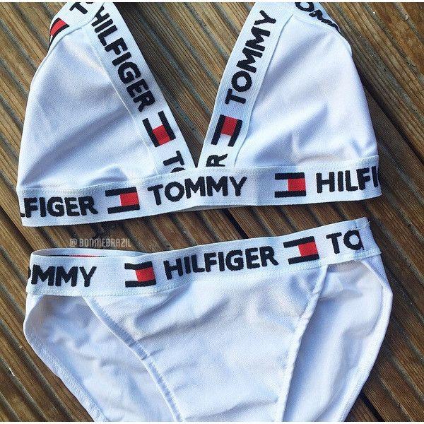 Reworked Tommy Hilfiger Cross Over Logo Bikini Set White Size Small... ($42) ❤ liked on Polyvore featuring swimwear, bikinis, grey, women's clothing, bikini swim wear, white bikini, triangle swim wear, high waisted two piece and triangle swimwear