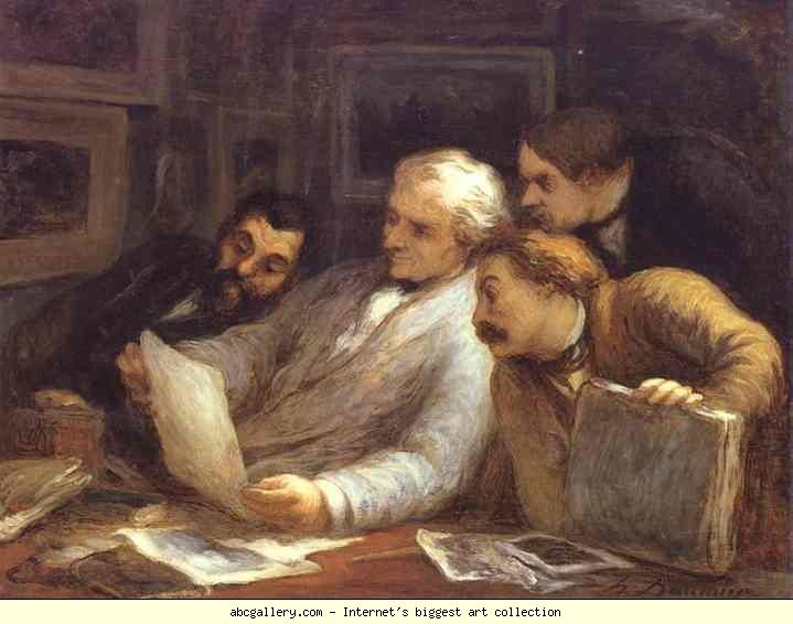 Honore Daumier. The Etching Amateurs. c.1860-63. Oil on wood. Sterling and Francine Clark Art Institute at Williamstown, MA, USA.