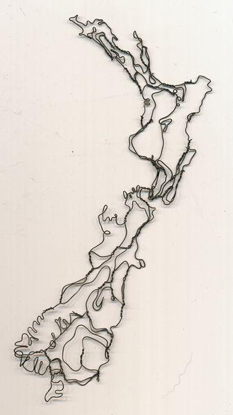 Very cool sculpture... New Zealand map wire sculpture by Elizabeth Berrien