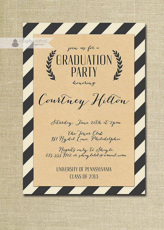 Kraft Graduation Invitation Whimsical Script Black & Off White Striped Modern Ceremony Celebration Printable or Printed - Courtney Style